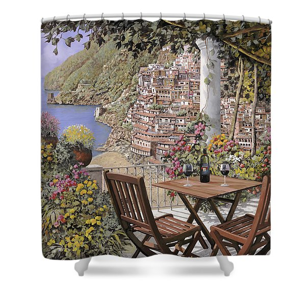 due bicchieri a Positano Shower Curtain