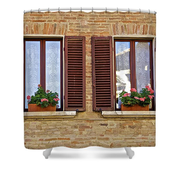 Dueling Windows Of Tuscany Shower Curtain
