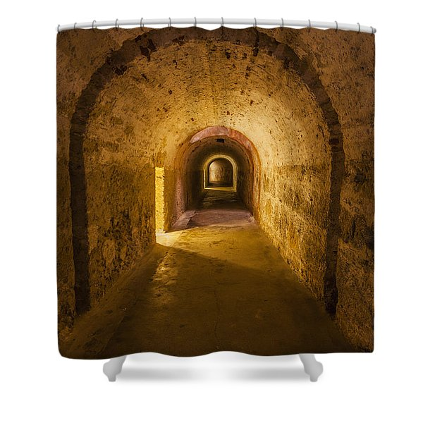 Shower Curtain featuring the photograph Dungeon At Castillo San Cristobal In Old San Juan Puerto Rico by Bryan Mullennix