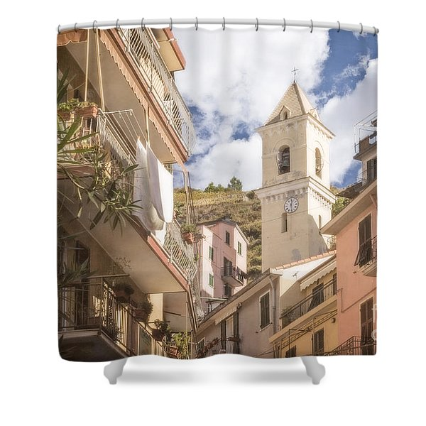 Duomo Bell Tower Of Manarola Shower Curtain
