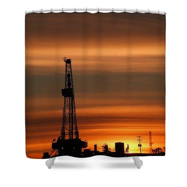 Dusk And An Oil Rig Shower Curtain
