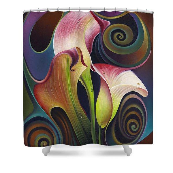 Dynamic Floral 4 Cala Lillies Shower Curtain