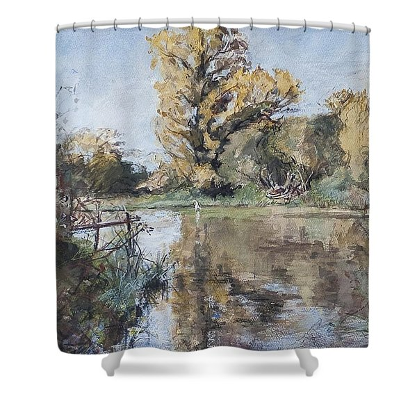 Early Autumn On The River Test Shower Curtain