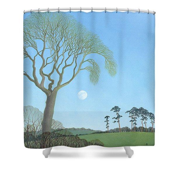 Early Moon, 2007 Oil On Canvas Shower Curtain