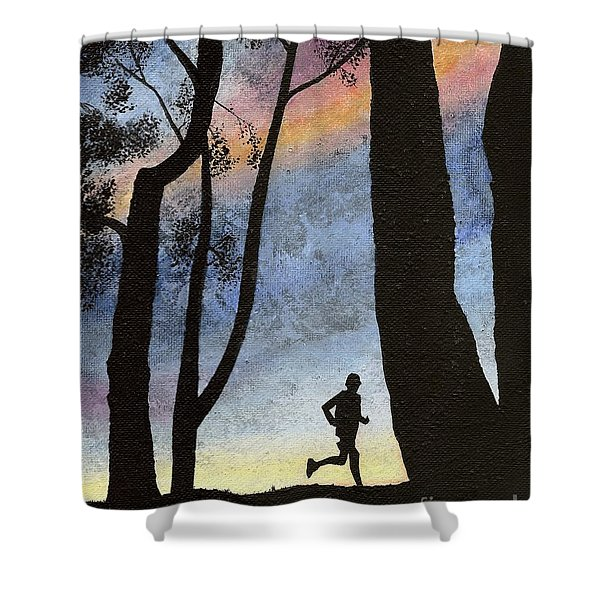 Shower Curtain featuring the painting Early Morning Run by Mary Scott
