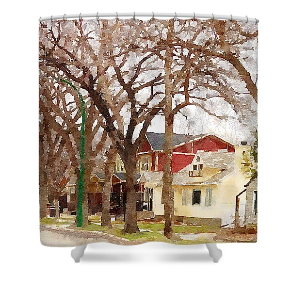 Early Spring Street Shower Curtain