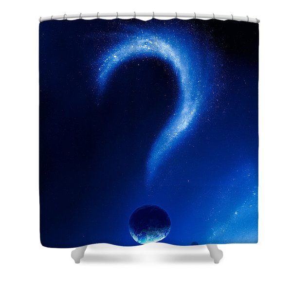 Earth And Question Mark From Stars Shower Curtain