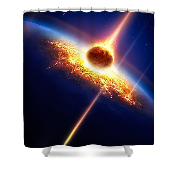 Earth In A  Meteor Shower Shower Curtain