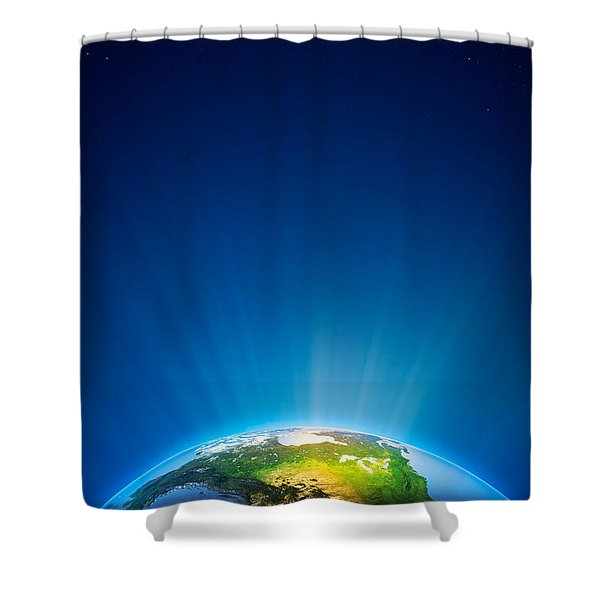 Earth Radiant Light Series - North America Shower Curtain