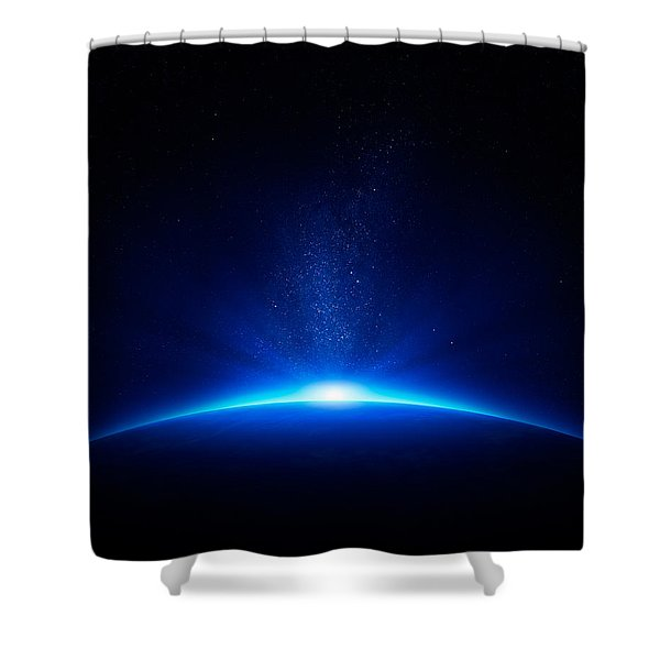 Earth Sunrise In Space Shower Curtain