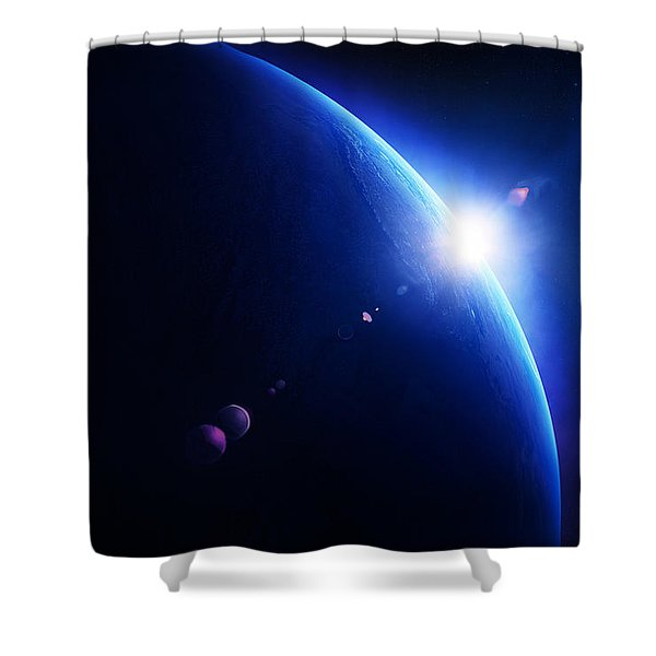 Earth Sunrise With Moon In Space Shower Curtain
