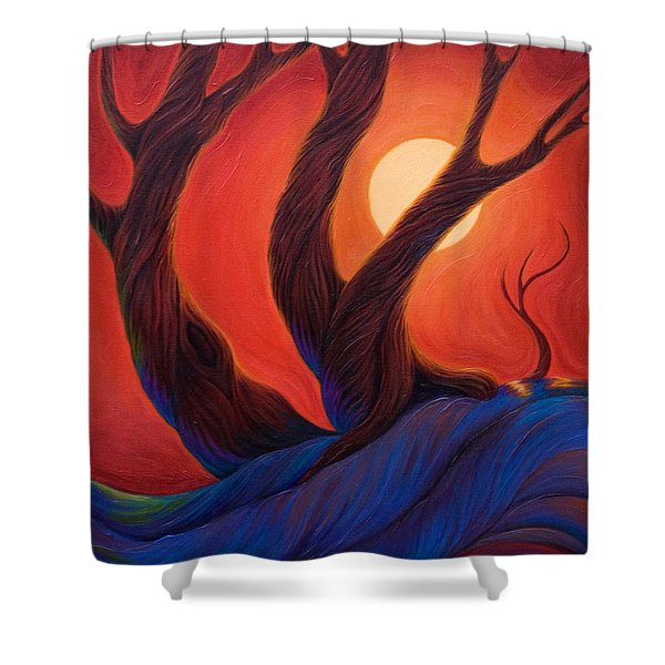 Shower Curtain featuring the painting Earth  Wind  Fire by Sandi Whetzel