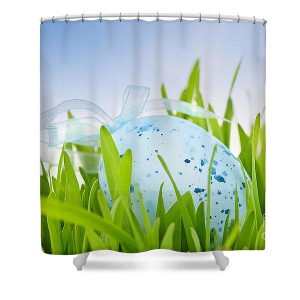 Easter Egg In Grass Shower Curtain