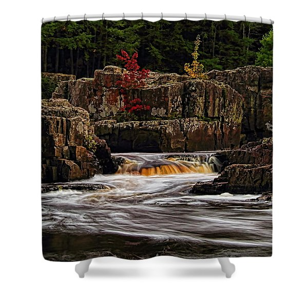 Waterfall Under Colored Leaves Shower Curtain