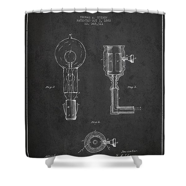 Edison Electric Lamp Patent From 1882 - Dark Shower Curtain