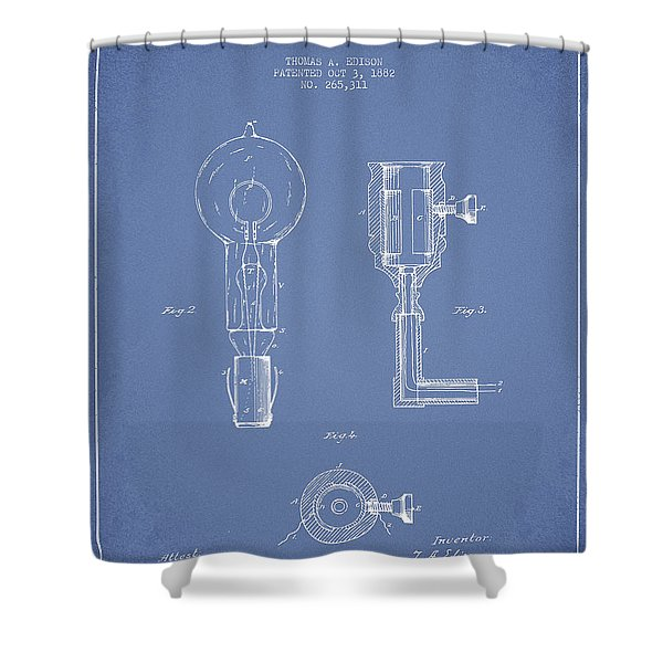Edison Electric Lamp Patent From 1882 - Light Blue Shower Curtain