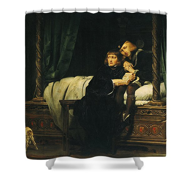 Edward V 1470-83 And Richard, Duke Of York In The Tower Les Enfants Dedouard 1830 Oil On Canvas See Shower Curtain