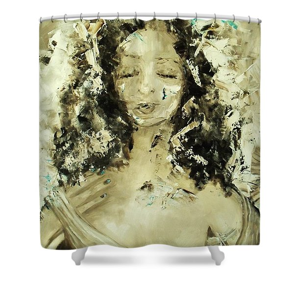 Shower Curtain featuring the painting Egyptian Goddess by Laurie Lundquist