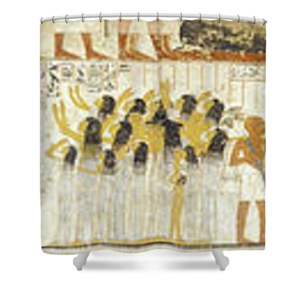 Egyptian Hieroglyphs On The Wall, Tomb Shower Curtain