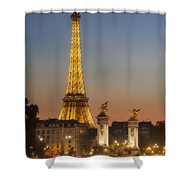 Shower Curtain featuring the photograph Eiffel At Twilight by Brian Jannsen
