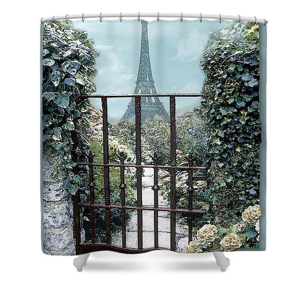 Eiffel Garden In Blue Shower Curtain