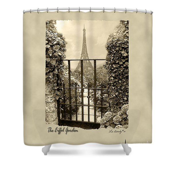 Eiffel Garden Sepia Shower Curtain