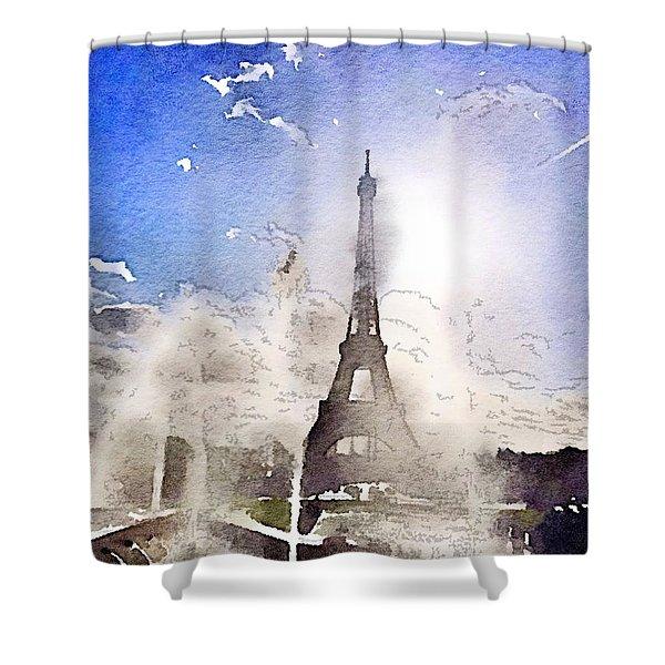 Eiffel During Summer Shower Curtain
