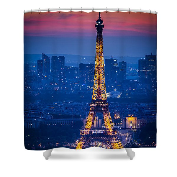 Shower Curtain featuring the photograph Eiffel Tower At Twilight by Brian Jannsen