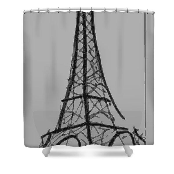 Eiffel Tower Lines Shower Curtain