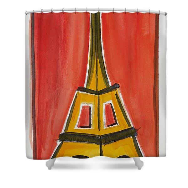 Eiffel Tower Orange And Yellow Shower Curtain