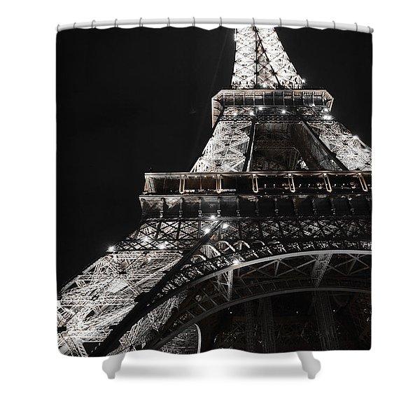 Eiffel Tower Paris France Night Lights Shower Curtain