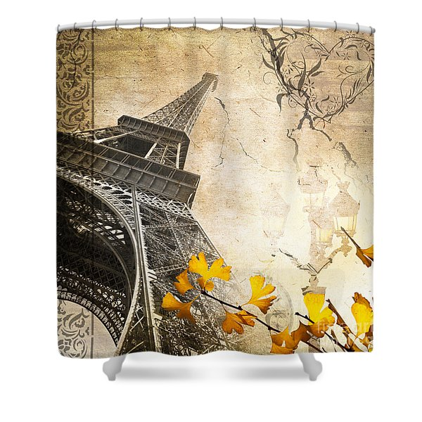 Eiffel Tower Vintage Collage Shower Curtain