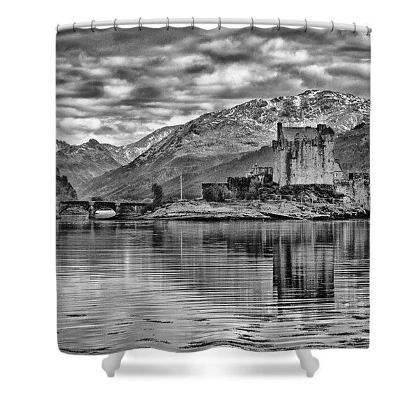 Eilean Donan - A Reflection Without Colour Shower Curtain