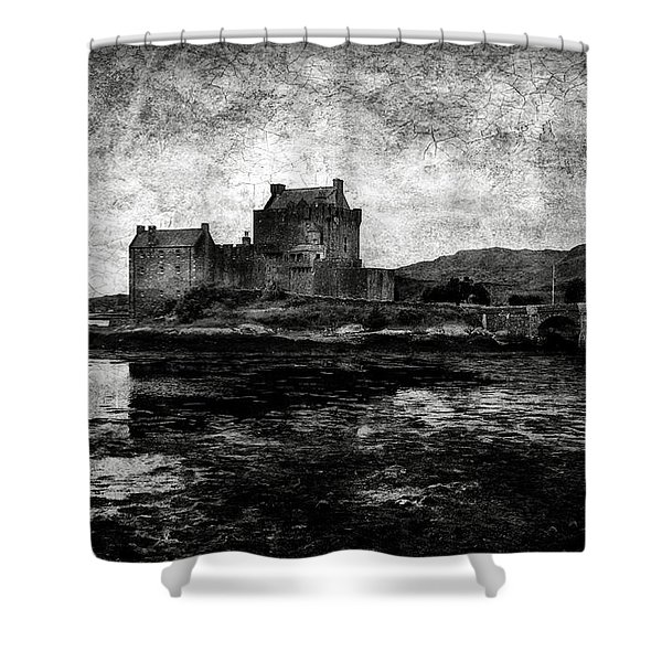Eilean Donan Castle In Scotland Bw Shower Curtain