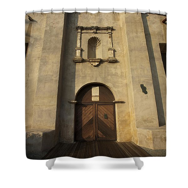 El Camino Real Door Entrance Way San Gabriel Mission Shower Curtain