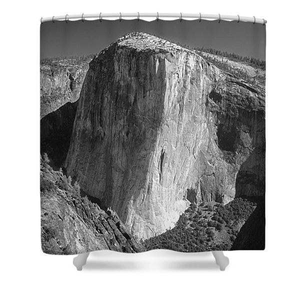 106663-el Capitan From Higher Cathedral Spire, Bw Shower Curtain