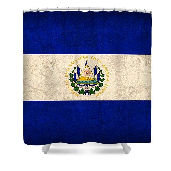 El Salvador Flag Vintage Distressed Finish Shower Curtain