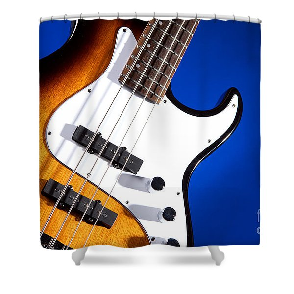 Electric Bass Guitar Photograph On Blue 3322.02 Shower Curtain