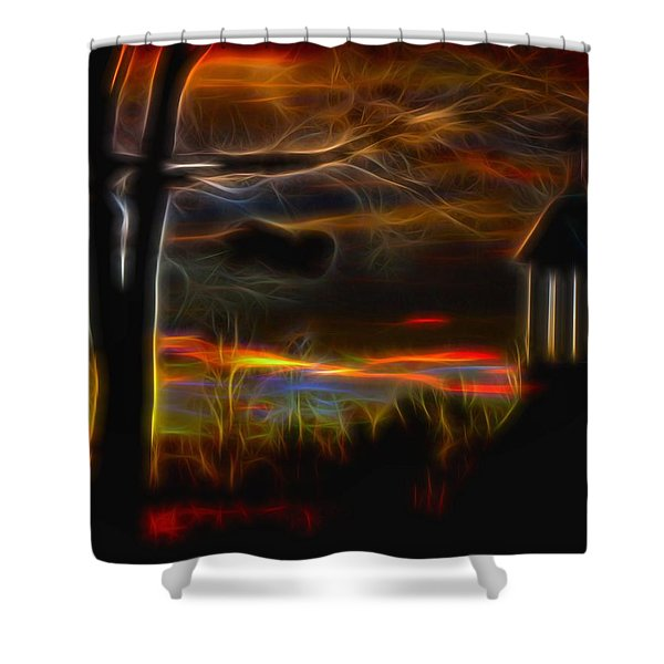 Electric Gothic Night Shower Curtain