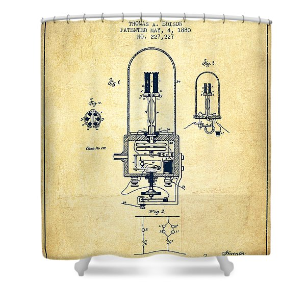 Electric Light Patent From 1880 - Vintage Shower Curtain