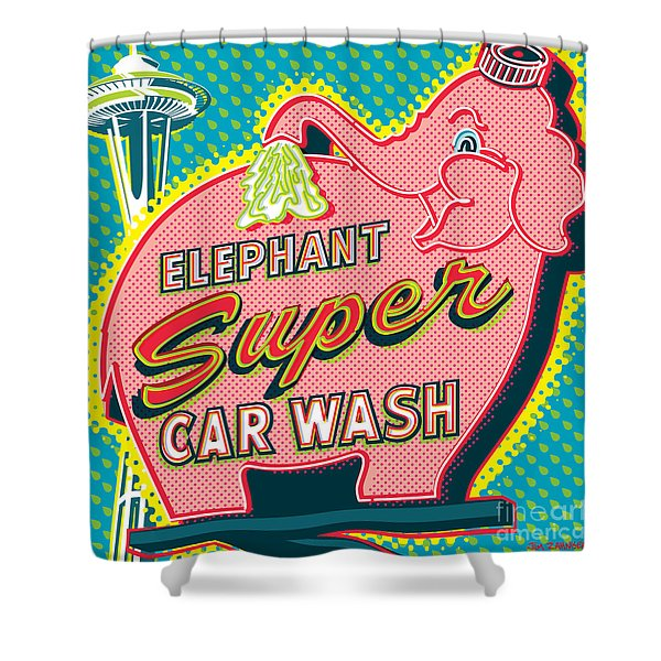 Elephant Car Wash And Space Needle - Seattle Shower Curtain