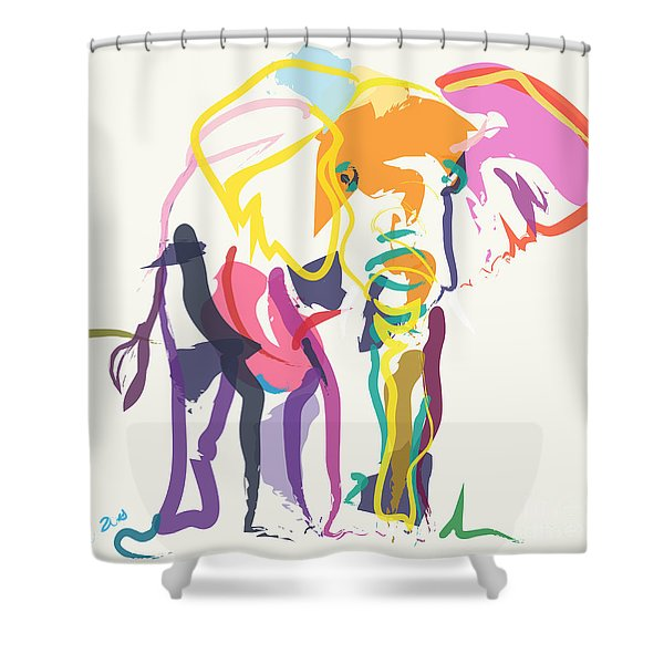 Elephant In Color Ecru Shower Curtain