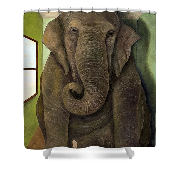 Elephant In The Room Wip Shower Curtain