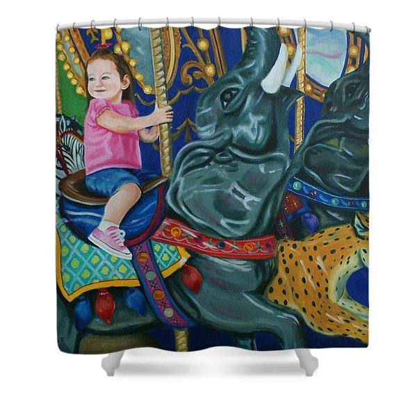 Elephant Ride Shower Curtain
