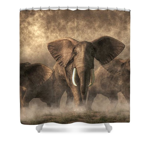 Elephant Stampede Shower Curtain