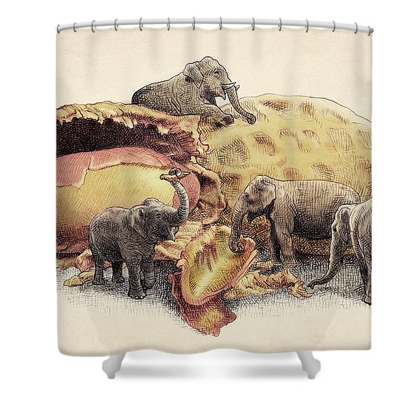 Elephant's Paradise Shower Curtain