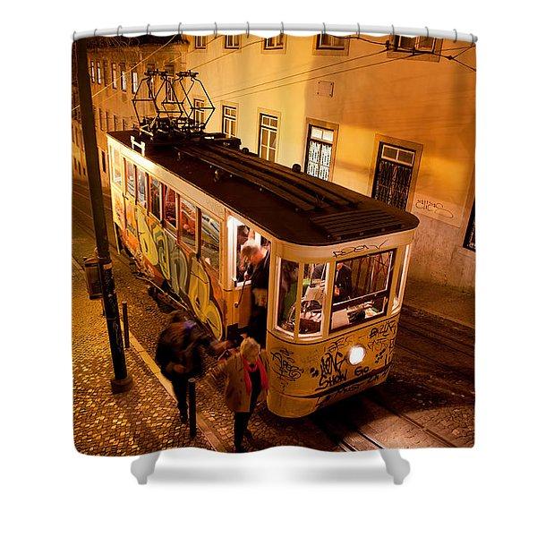 Elevador Da Gloria At Night In Lisbon Shower Curtain