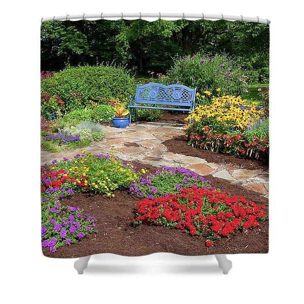 Elevated View Of A Flower Garden Shower Curtain