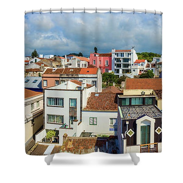 Elevated View Of The Cityscape, Ponta Shower Curtain