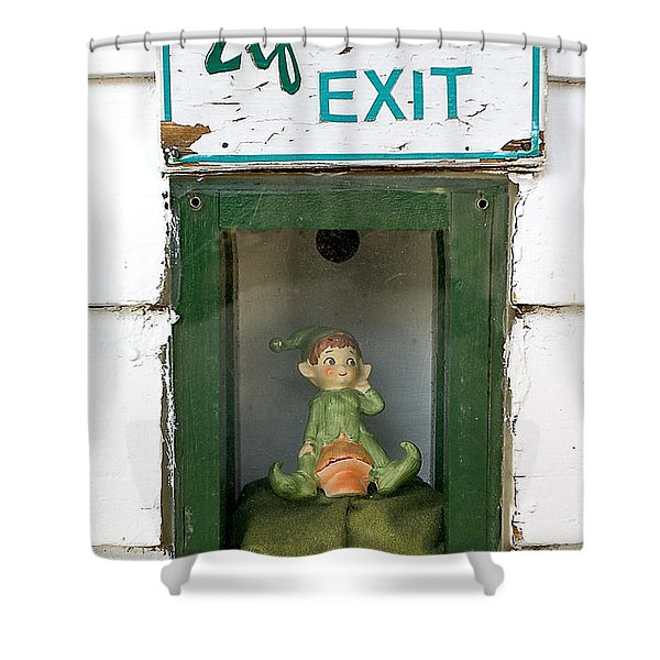 elf exit, Dubuque, Iowa Shower Curtain